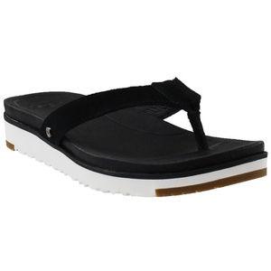 UGG LORRIE Black & White Flip Flop Sandals Women 5
